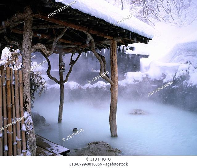 Snow coverage, Steam, Muddiness hot water, Lamp, Roof, Nyuto Onsenkyo, Tsurunoyu, Tazawako, Semboku, Akita, Japan