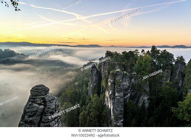 Bastei at sunrise, Elbe Sandstone Mountains, Saxony, Germany