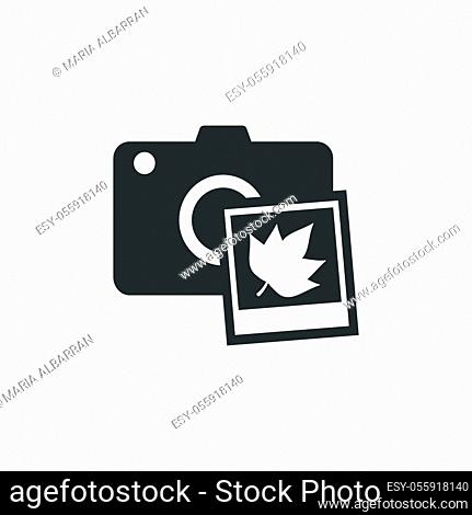 Camera and fall photography. Isolated icon. Technology flat vector illustration
