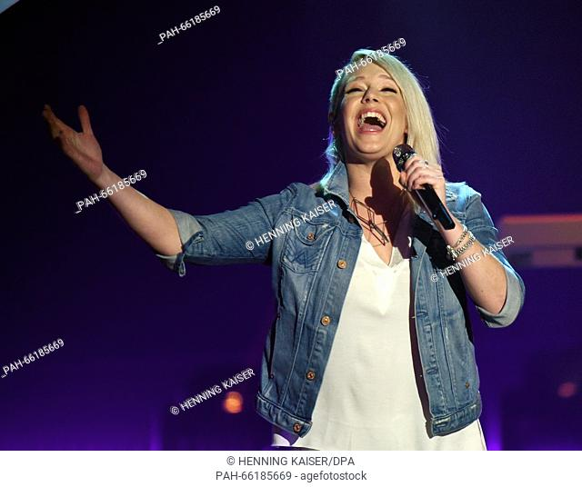 Members of the band Luxuslaerm with lead singer Jini Meyer (Front) competes for the national preliminary decision for the 61st Eurovision Song Contest (ESC)...