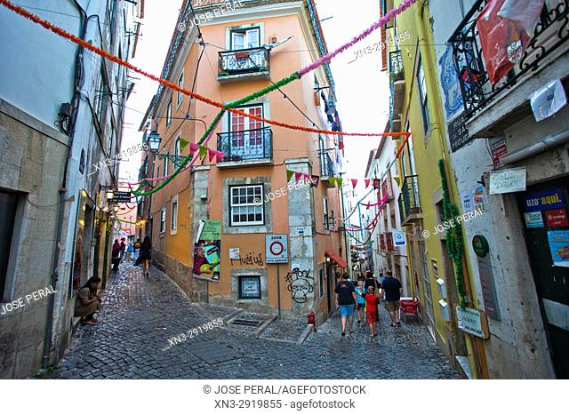 Rua do Sao Miguel Street, Alfama distric, Lisbon, Portugal, Europe