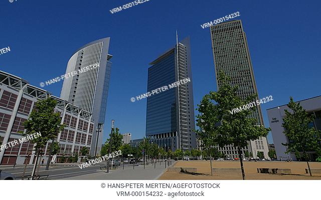 Highrise buildings near Frankfurt Trade Fair, Frankfurt am Main, Hesse, Germany