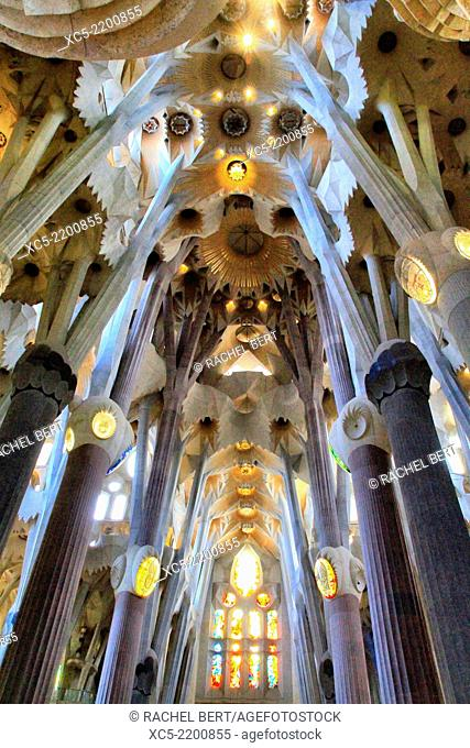 Sagrada Familia by architect Antoni Gaudi in Barcelona, Catalonia