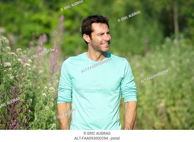 Mature man exploring outdoors, portrait