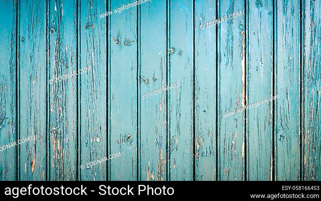 Old weathered wooden wall background, aquamarine texture