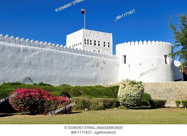 Historic adobe fortification Sohar Fort or Castle, Batinah Region, Sultanate of Oman, Arabia, Middle East