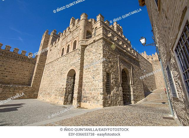 ancient building Alfonso VI Gate, landmark and ancient age monument from tenth century, one of the pedestrian public access to Toledo city, Spain, Europe