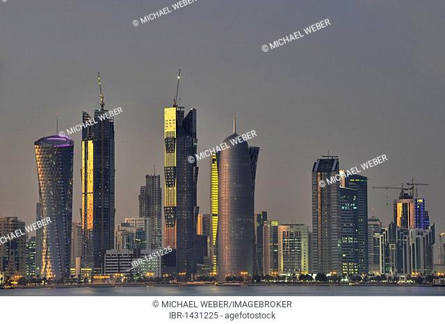 Skyline of Doha, Tornado Tower, Navigation Tower, Peace Towers, Al-Thani Tower, Doha, Qatar, Persian Gulf, Middle East, Asia