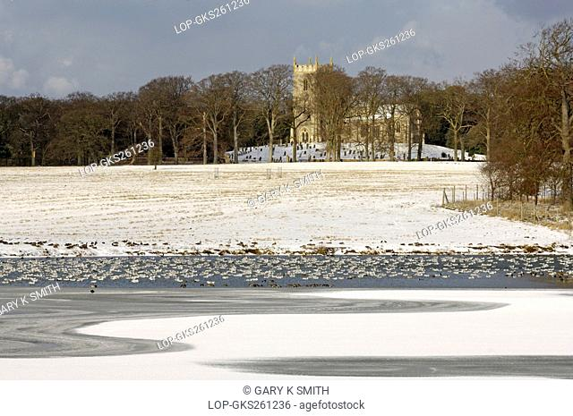 England, Norfolk, Wells-next-the-Sea. Winter view over a frozen lake towards St Withburga church in the grounds of Holkham hall