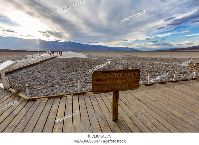 Altitude sign. Badwater Basin, Death Valley National Park, Inyo County, California, USA