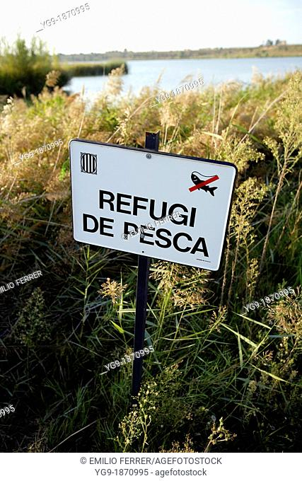 No fishing signboard on a biodiversity area  LLeida  Spain
