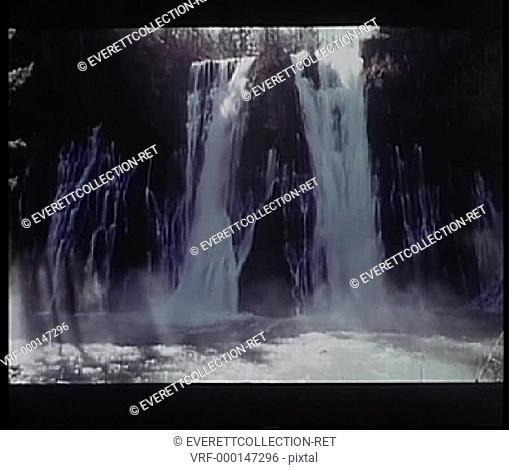 Water flowing down waterfalls in slow motion