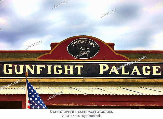 Sign above the Gunfight Palace Saloon on E Allen St in historic Tombstone, Arizona