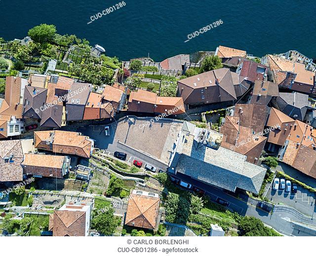 aerial view, Borgo Antico, old village, Nesso, Como Lake, Lombardy, Italy, Europe