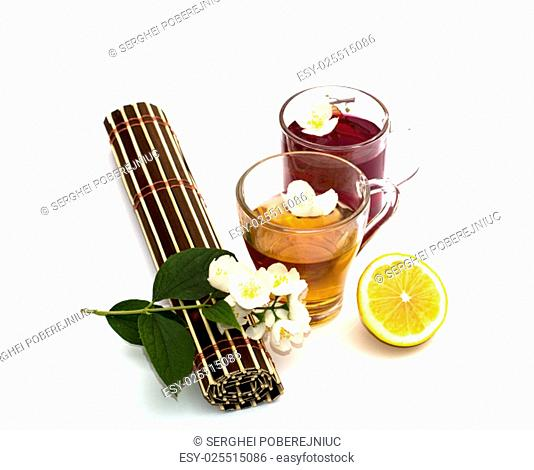 the transparent circles with medical tea, a still life on a subject medicinal drinks