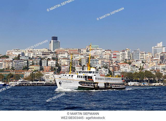 Turkey, Istanbul, Ferry boat on Bosphorus