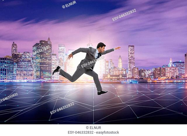 Businessman running in internet of things concept