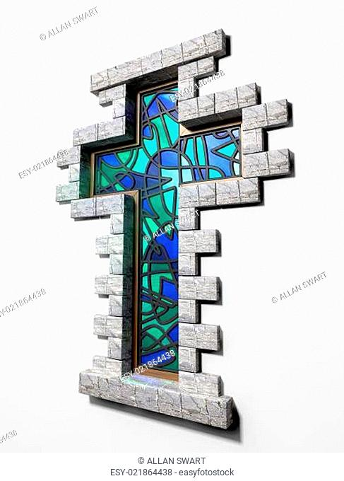 Stained Glass Crucifix Window Isolated