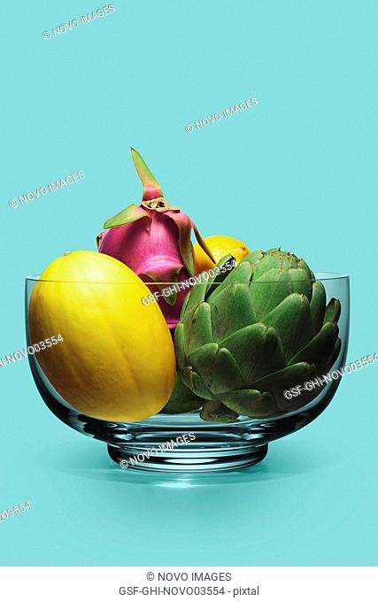Crystal Bowl Filled with Artichoke, Melon, Dragon Fruit and Lemon