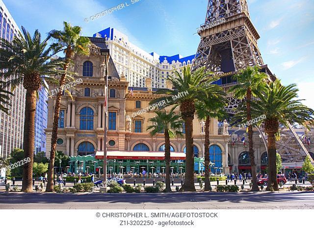 The Mon Ami Gabi bistro restaurant on the strip in Paris, Las Vegas, Nevada
