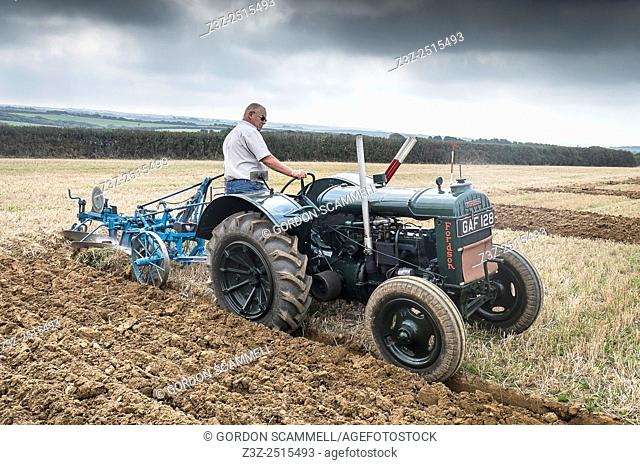 A farmer competing in a ploughing competition on The Lizard in Cornwall