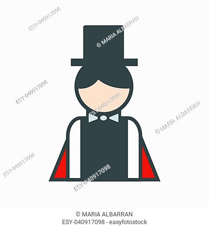 Magician avatar icon on white background