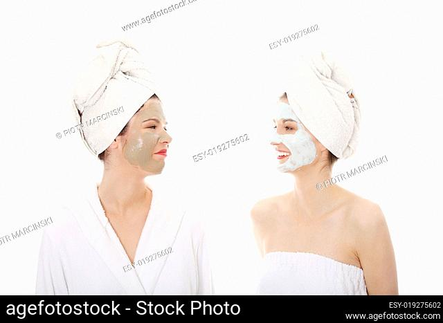 Two beautiful young woman on SPA