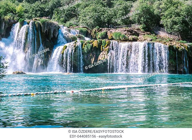 View of waterfall Skradinski Buk in Krka National Park , one of the Croatian national parks in Sibenik, Croatia