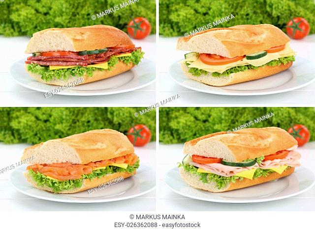 collage of baguettes for breakfast on a plate topped with salami ham,fish,cheese,lettuce and tomato