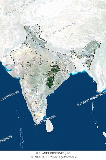 Satellite view of India showing the State of Chhattisgarh. This image was compiled from data acquired by LANDSAT 5 & 7 satellites