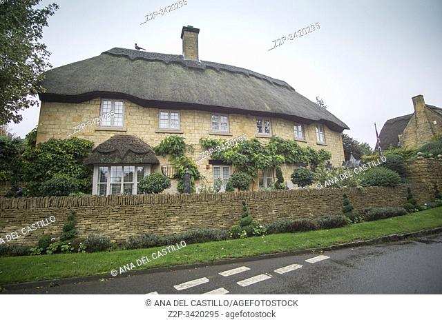 Chipping Campdem Cotswolds Gloucestershire UK on October 13, 2019: Tatched roof in cottage