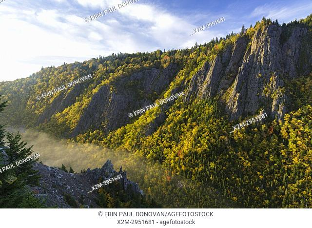 Dixville Notch State Park in New Hampshire USA from a scenic viewpoint along the Sanguinary Ridge Trail during the autumn months