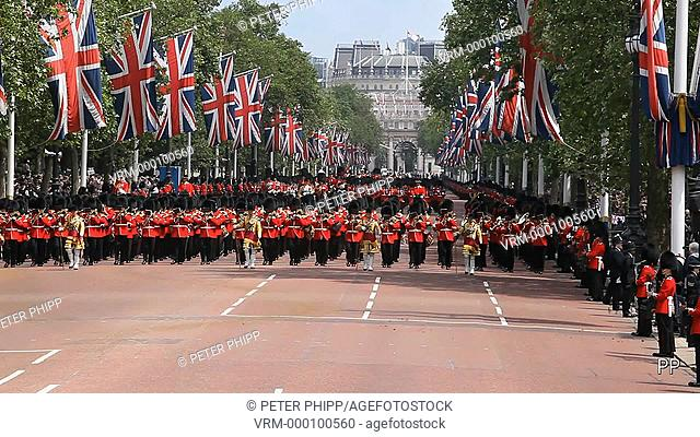 Trooping of the Colour in the Mall, with the Band of the Grenadier Coldstream Guards returning with the Queen's Carriage in a spectacular parade to Buckingham...