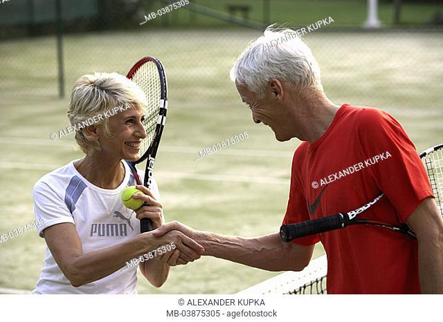 Tennis court, senior couple, net, slap, happy, detail