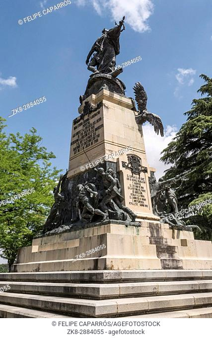 Segovia, SPAIN - June 3: Monument to the Heroes of May 2 and homage to the captains Pedro Velarde and Luis Daoíz on the day of national independence in the...