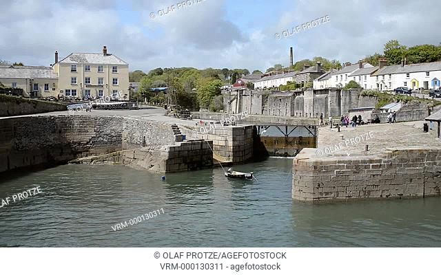 View over the harbour of Charlestown a small town at the Cornwall coast England