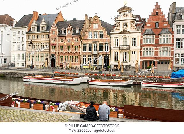 Graslei beside the River Lys, Ghent, Belgium