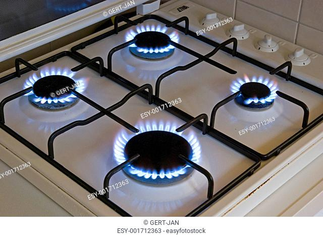 Four blue flames of a gas stove