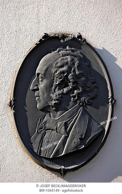Commemorative plaque for Felix Mendelssohn Bartholdy on Mendelssohn House, Leipzig music trail, Leipzig, Saxony, Germany, Europe