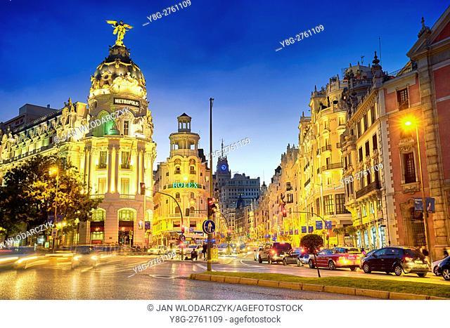 Metropolis building at evening, Gran Via, Madrid, Spain