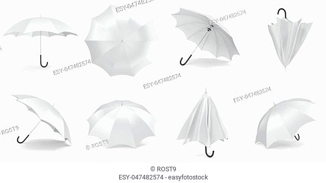 White umbrellas and parasols in various positions open and folded collection. 3d rendering