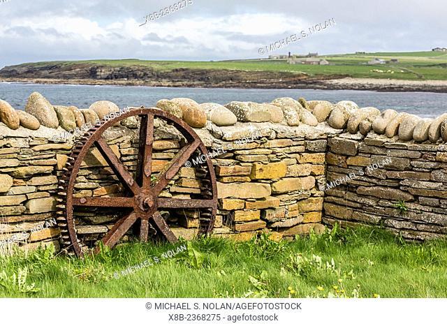 Excavated 5000 year old village site of Skara Brae on Mainland Island, Orkney Archipelago, Scotland