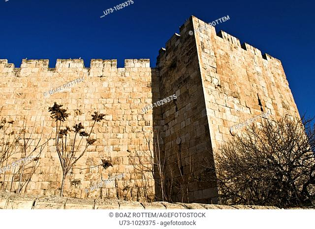 The beautiful old city wall in Jerusalem