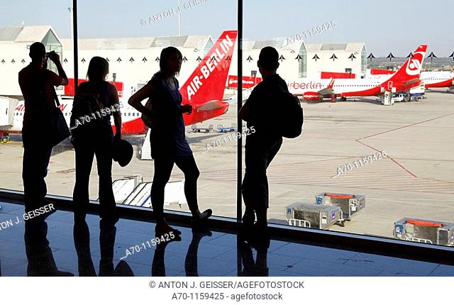 Peoples ready for takeoff , airport , Palma de Mallorca