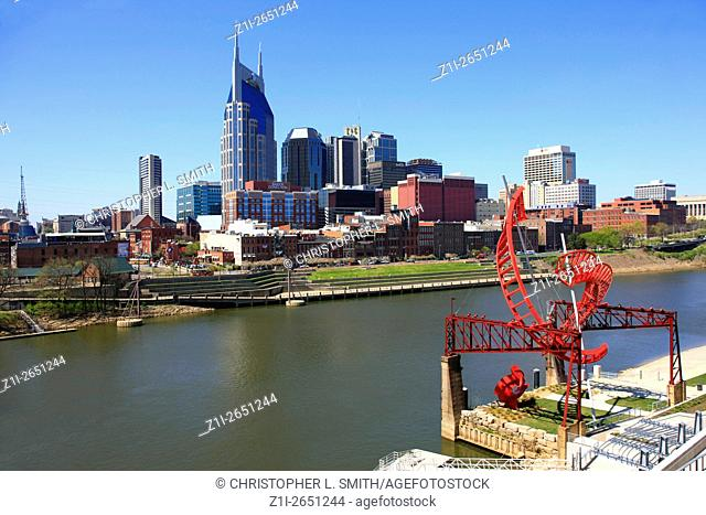 View of downtown Nashville Tennessee and the Cumberland River
