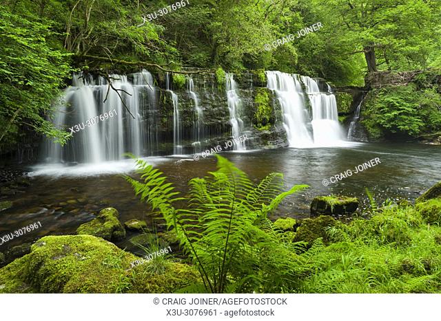 Sgwd y Pannwr (Fall of the Fuller) waterfall on the Afon Mellte river in the Brecon Beacons National Park near Ystradfellte, Powys, Wales
