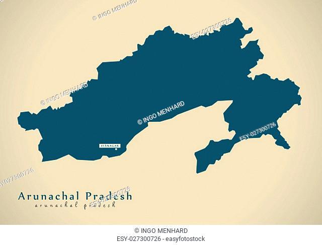 Modern Map - Arunachal Pradesh IN India federal state illustration silhouette