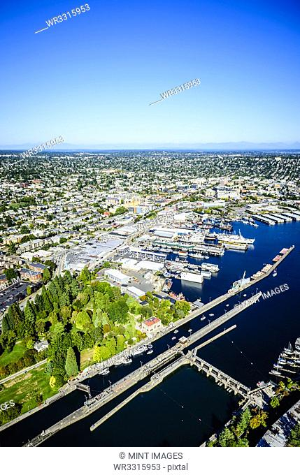 Aerial view of Ballard Locks in Seattle cityscape, Washington, United States
