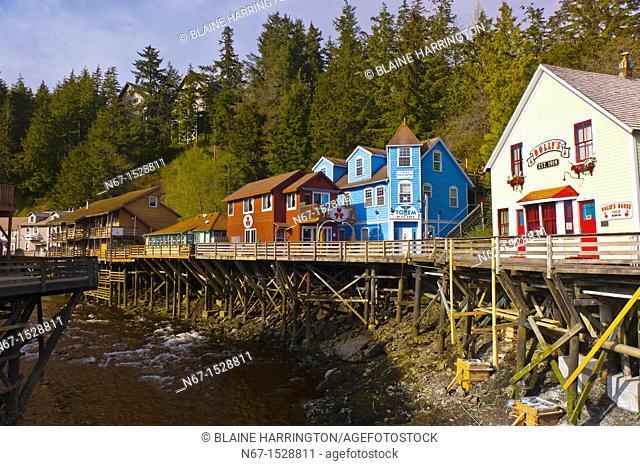 Creek Street historic district with Ketchikan Creek flowing through it, Ketchikan, Southeast Alaska USA