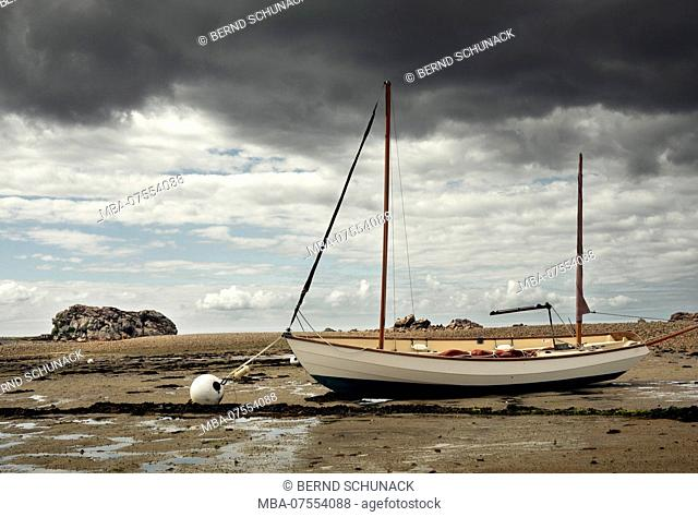 Sailboat, low tide, Brittany